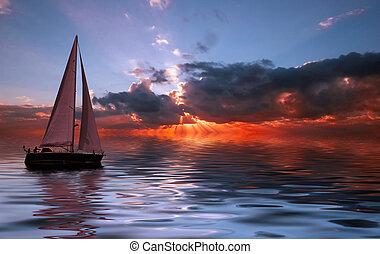 zeilen aan zonsondergang
