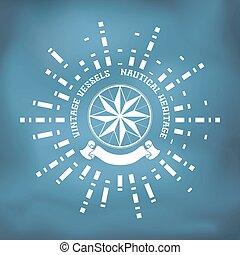 zeilend, roos, kompas, lint, badge, wind