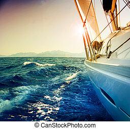 zeilend, tegen, jacht, toned, sepia, sunset., sailboat.