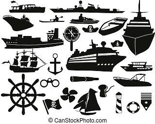 zeilend, voorwerpen, pictogram, set
