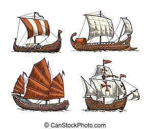 zeilend, zee, drakkar, trireme, waves., junk., set, schepen, caravel, zwevend
