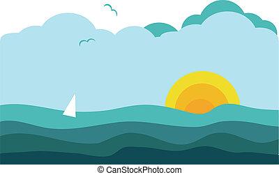 zeilend, zonnig, jacht, oceaan, 2, aanzicht