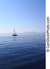 zeiljacht, op, zee