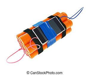 zeit, beweglich, hintergrund, bombe, telefon, dynamit, weißes