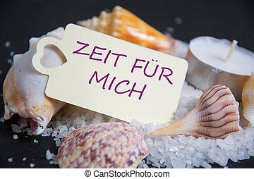 Zeit für Mich - german words for timeout - Shell with candle...