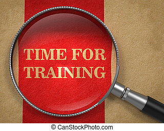 zeit, für, training., vergrößerungsglas, auf, altes , paper.