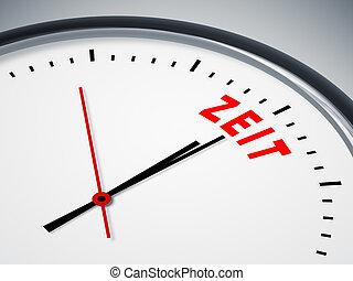 "Zeit in rot - A nice clock with the german word ""Zeit"" in..."