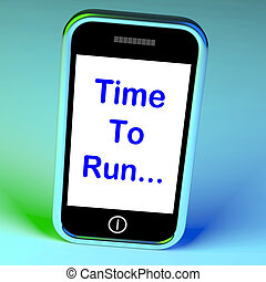 zeit, laufen, smartphone, mittel, kurz, pünktlich, und, hetzen