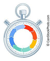 Zeit-Stop - Countdown time concept, pictogram