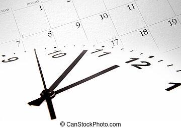 zeit, und, kalender
