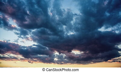 zeit- versehen, klammer, von, weißes, flaumig, wolkenhimmel,...