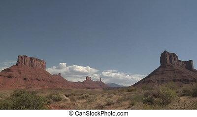 zeit- versehen, roter felsen, denkmäler, bei, moab, utah