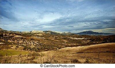 zeit- versehen, trüber himmel, aus, andalusian, landschaftsbild, spanien