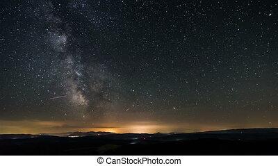 zeit- versehen, von, milchstraße, galaxy., sternen, einziehen, sternennacht