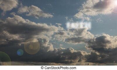 zeit-versehen, wolkenhimmel, glaube, &, liebe, frieden, ...