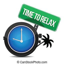 zeit, zu, entspannen, begriff