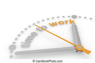 zeit, zu, work., abstrakt, clock.