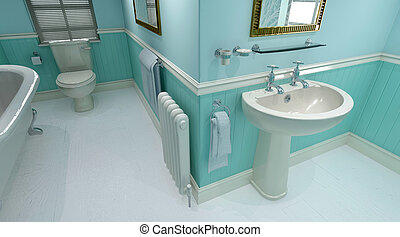 zeitgenössisch, badezimmer