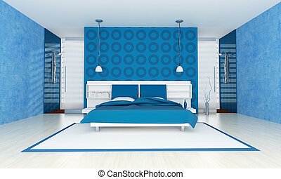 zeitgenössisch, blaues, schalfzimmer