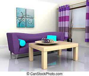 zeitgenössisch, inneneinrichtung, und, sofa