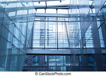 zeitgenössisches büro, gebäude, blaues glas, wand, detail