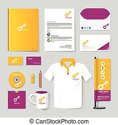 zeitschrift, t-shirt, büroordner, flieger, vektor, broschüre