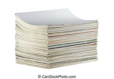 zeitschriften, weißes, haufen , freigestellt