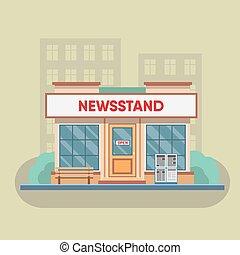 zeitungskiosk, verkauf, zeitungen, magazines.