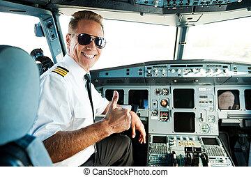 zeker, gereed, mannelijke , op, achterkant, duim, zittende , aanzicht, piloot, cockpit, het tonen, het glimlachen, zijn, flight., terwijl