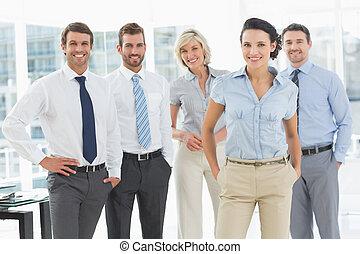 zeker, het glimlachen, kantoor, handel team