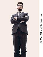 zeker, man, tie., kostuum