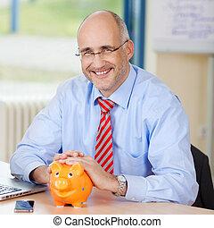 zeker, piggybank, zakenman, bureau