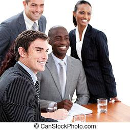 zeker, vergadering, multi-etnisch, zakenlui