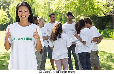 zeker, vrijwilliger, gesturing, op, duimen