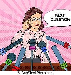 zeker, vrouw, geven, drukken, conference., massamedia,...