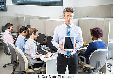 zekere manager, vasthouden, tablet, computer, in, calldesk