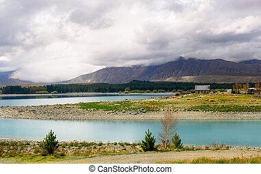 Zelândia, bom, lago,  Tekapo, igreja, Novo, pastor