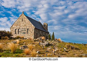 Zelândia, bom,  Tekapo, lago, igreja, Novo, pastor