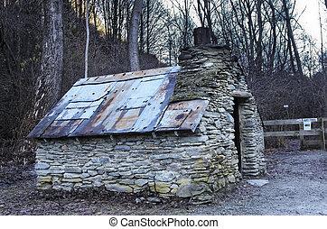zelândia, cabana, arrowtown, velho novo