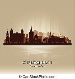 zelândia, cidade, silueta, skyline, vetorial, christchurch, novo