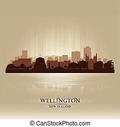 zelândia, cidade, silueta, wellington, skyline, vetorial, novo