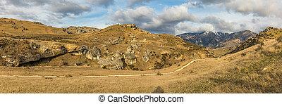 zelândia, ilha, fluxo, panorâmico, caverna, durante, novo, pôr do sol, sul, reserva