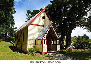 zelândia, ilha, sul, novo, igreja