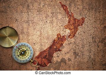 zelândia, mapa, antigas, vindima, papel, fenda, novo