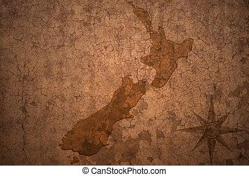 zelândia, mapa, antigas, vindima, papel, fundo, fenda, novo