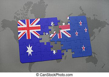 zelândia, mapa, austrália, quebra-cabeça, experiência., bandeira, mundo novo, nacional