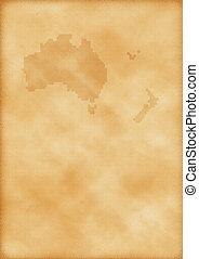 zelândia, mapa, austrália, velho novo