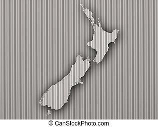zelândia, mapa, corrugated passam ferro, novo