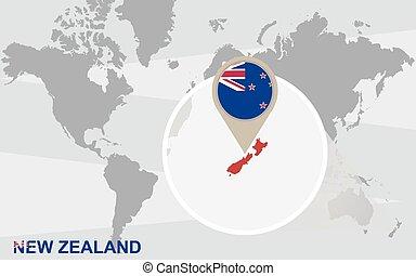zelândia, mapa, mundo, novo, ampliado