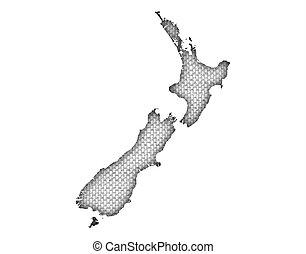 zelândia, mapa, novo, linho